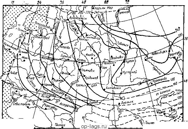 Схематическая Карта Глубины Промерзания Грунтов